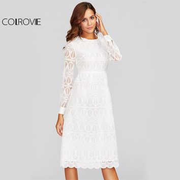 COLROVIE Scallop Hem Embroidered Mesh Overlay Dress 2017 Ladies Fashion Round Neck Long Sleeve High Waist Elegant Shift Dress