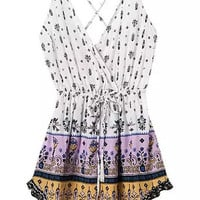White and Purple Floral Wrap V-Neckline Backless Mini Dress