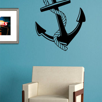Anchor with Rope Nautical Ocean Beach Decal Sticker Wall Vinyl Art Decor