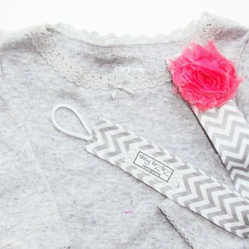 Baby Pacifier Clip in Grey Chevron with Hot Pink Shabby Chic Flower for Girl