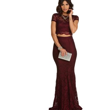 Sylvia- Burgundy Formal Dress