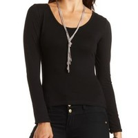 Cross-Back Long Sleeve Tee by Charlotte Russe