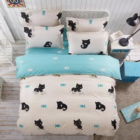 New Animal Style Duvet Cover Set Polyester Fiber Bed Sheet Sets Sets black cat Queen Full Twin Size 3 / 4pcs