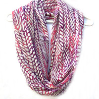 Infinity Scarf.  Pink Purple White Circle Scarf. Tube Scarf. Loop Scarf. Women Accessories.