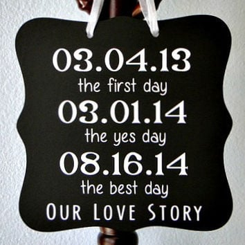 Important Dates Sign - Our Love Story - Perfect Wedding Gift, Reception Decor & Personalized Wall Art!
