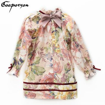 Girls Dress High Quality 100% Cotton Floral Vintage Long Sleeve Dress for Kids Girl Autumn Princess Dress with Bow 2018 Fashion