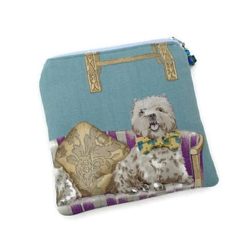 Blue purse, Dog print purse, King Charles Spaniel, Carin Terrier, Cotton Cosmetic Bag, Zipper Tote, Quilted handbag, Padded make up bag