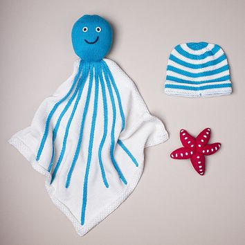 Organic Octopus Baby Blanket Gift Sets with Starfish or Mermaid Rattle