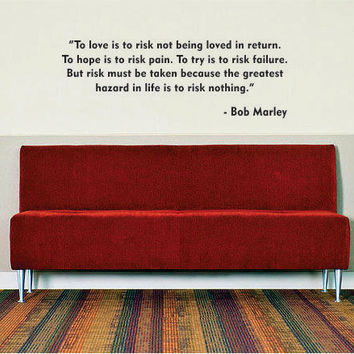 BOB MARLEY Quote Decal Sticker Wall Vinyl jamaica rasta reggae