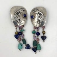 Native American Kokopelli sterling Silver Dangle Clip earrings