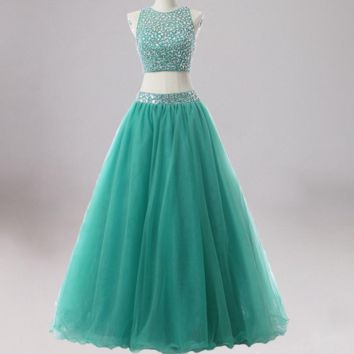 Sexy Luxury Beading Two Piece Dresses Debutante Gown Green Tulle Sweet 16 Dress Party Gowns