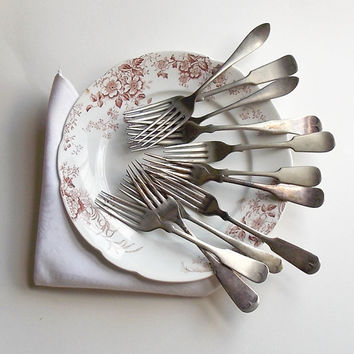 Eleven Antique Forks, 1800s and Early 1900s Flatware, Silverplate & Electroplate Forks