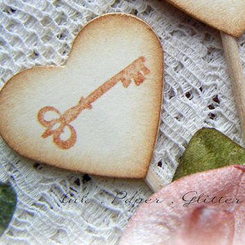 Heart Cupcake Topper - Key - Vintage Inspired - Wedding - Bridal Shower - Decoration - Food Pick - Set of 15