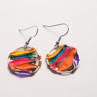 Dangle resin earring. Resin Jewelry. Silver Copper Wire Jewelry. colorful handmade Resin. Summer. Gifts for her. hoop earrings. nickel free
