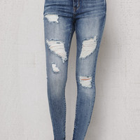 PacSun Dusk Blue Ripped High Rise Skinny Jeans at PacSun.com