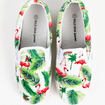 Wild Diva Lounge Marsden-08am Flamingo Sneakers | MakeMeChic.com