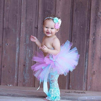 Baby Tutu, Pink and Aqua Tutu, Newborn Tutu, Photo Prop, Smash Cake, Girl 1st Birthday Outfit - Tutu for Infant, Baby, Toddler, Girls