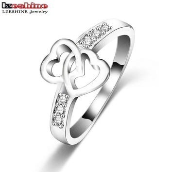 Eternity Love Promise Rings For Women Real Platinum Plated Double Heart Wedding Engagement Ring CRI0047-B