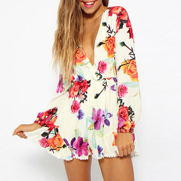 Floral Print Long Sleeve Pleated Rompers