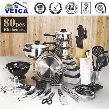 80 Piece Kitchen Starter Pots, Pans and Utensils Combo