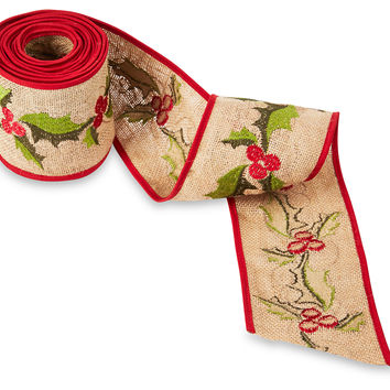 "5 Yds. of 4"" Holly Embroidered Ribbon, Ribbon & Twine"