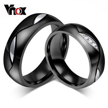 Fashion Black Wedding Rings for Men/Women CZ Couple Ring 316l Stainless Steel Engagement Jewelry