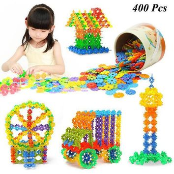 DCCKL72 400 Pcs 3D Puzzle Jigsaw Plastic Snowflake Building Blocks Building Model Puzzle Educational Intelligence Toys For Kids