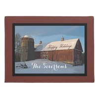 Rustic Winter Barn Happy Holidays Doormat