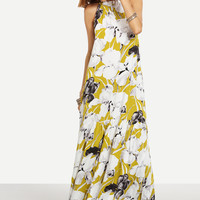 Multicolor Floral Sleeveless Maxi Dress -SheIn(Sheinside)