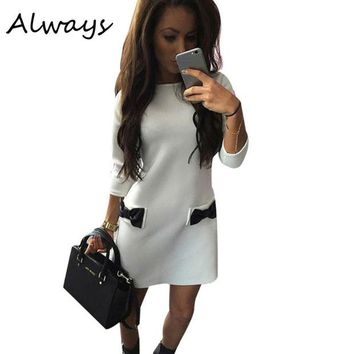 ONETOW Spring Winter Women Bow Mini Dresses Straight Casual Dress Three Quarter Sleeves Solid Dress