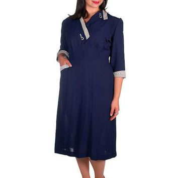 Vintage Navy Rayon Day Dress Striped Cuffs/Collar 1940s Rite Fit 44-35-46