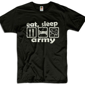 Eat, Sleep Army Men Women Ladies Funny Joke Geek Clothes Soldier T shirt Tee Gift Present