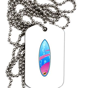 Octopus Surfboard Adult Dog Tag Chain Necklace by TooLoud