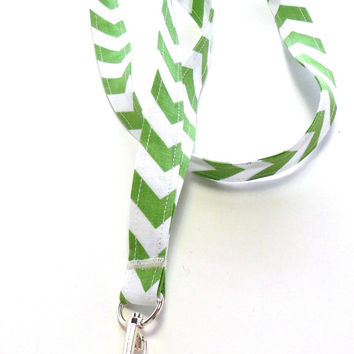 Lime Green Chevron Stripe Fabric Lanyard, ID Badge,Cell Phone, Key Holder