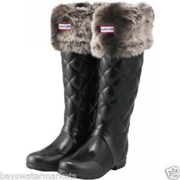 Hunter Boots Socks Soft Furry Chinchilla Grey Welly Cuff BN NIB Gray