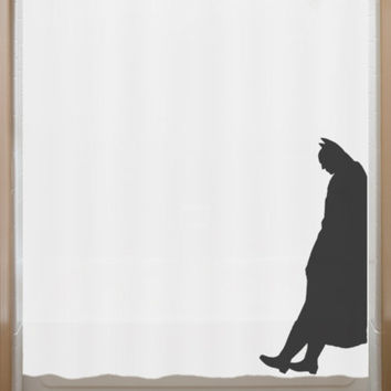 Leaning Batman Shower Curtain bathroom decor bath kids