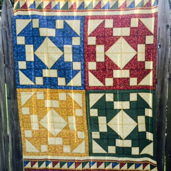 Country Rustic Fabric Panel Quilt Pillow Sewing Material Leslie Beck
