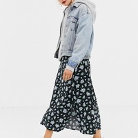 Stradivarius floral midi skirt at asos.com