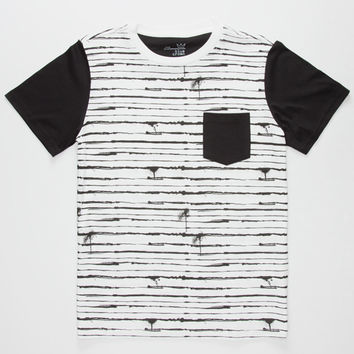 Blue Crown Barbed Wire Boys Pocket Tee Black/White  In Sizes