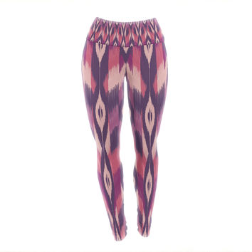 "Amanda Lane ""Purple Ikat"" Pink Lavender Yoga Leggings"