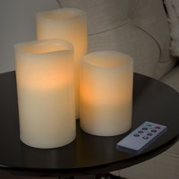 Lavish Home 3 Piece LED Flameless Candle Set with Remote | Overstock.com Shopping - The Best Deals on Candles & Holders