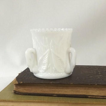 ON SALE - Westmoreland Swan Toothpick Holder, Vintage White Milk Glass, Kitchen Table Accessory