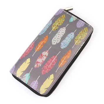 Multicolor Feather Wallet