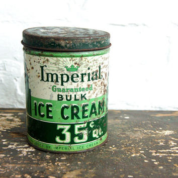 Antique Ice Cream Tin 1940s Advertising Green Imperial Vanilla 1 Quart Lid Primitive Kitchen Decor