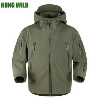 HONG WILD High quality winter rubber TAD V5.0 Shark Skin Tactical Militar  Waterproof Softshell Coat Mens Army Hooded Jacket