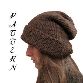 Brown Slouchy Hat Knitting Pattern - Hand Knit Slouchy Hat - Merino Wool - Etsy Instant PDF Download
