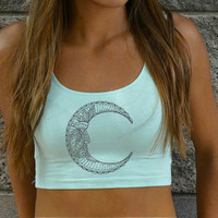 Embroidered Moon Crop Top - American Apparel - Green - Space