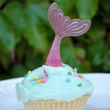 Mermaid Tail Cupcake Toppers- Set of 6 Pink