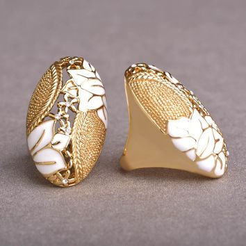 Blucome New Enamel Esmalte White Flower Rings For Women Gold Color Ring Elegant Big Wide Engagement Wedding Rings anillos mujer