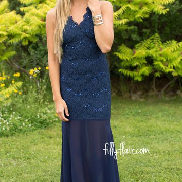 After Midnight Sequin Maxi in Navy